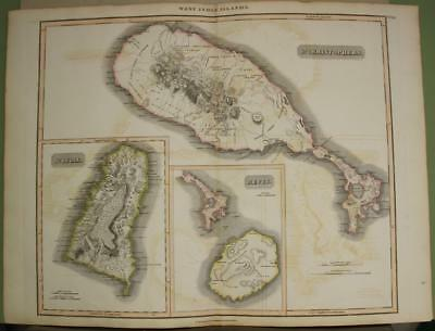 St. Kitts Ste Lucia Nevis West Indies  1817 Thomson Antique Copper Engraved Map
