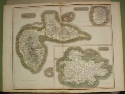 Antigua Guadeloupe Marie Galante West Indies 1817 Thomson Antique Engraved Map