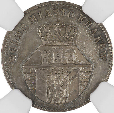 Poland (Krakow) 1835 Zloty AU58 (NGC) SCARCE ONE YEAR TYPE, ONLY 20,000 MINTED
