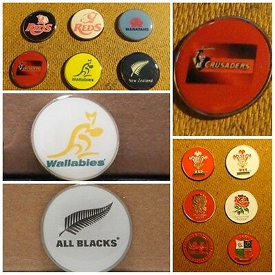 1 ONLY  GOLF BALL MARKER - rugby union teams Waratahs, All Blacks, Crusaders,