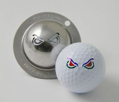 1 only TIN CUP GOLF BALL MARKER- ANGRY EYES & YOURS FOR LIFE