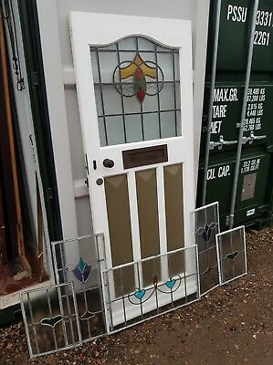 1930s Vintage complete surround Stained Leaded Glass Front Door Delivery*