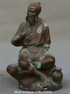 "7.3"" Antique Old Chinese Purple Bronze Kindly Fisherman Fishermen Old Man Statue"