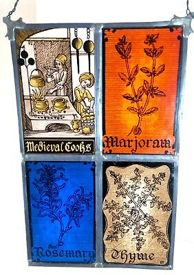 Glassmasters MEDIEVAL COOKS HERBS Suncatcher Stained Glass Large Marjoram Thyme