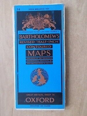 Vintage Bartholomews Contoured Map Sheet 14 Oxford Cloth Edition