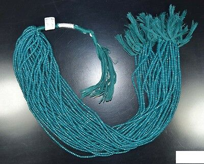 """2 Mm  13 """"  Natural  Aaa  10  Line  Bluish Green Onyx  Treated  Beads  Strand"""