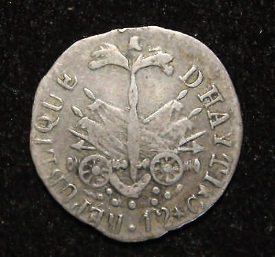 EARLY and NICE 1817 12 Centimes Silver coin of Haiti