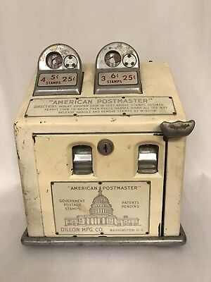 Antique Coin Operated American Postmaster by Dillon Manufacturing Co. (W/ KEY!)