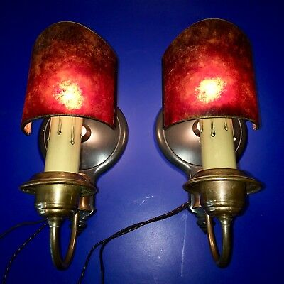 PAIR Antique Iron & Brass Wall Lights Sconces Fixtures With Mica Slip Shades 36A