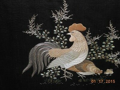 Vintage, Antique, Asian Embroidery, Framed, Rooster, chicken, chick
