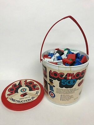 Vintage 1980's Loc Blocs Entex Building Blocks Bricks Compatible with Legos Pail