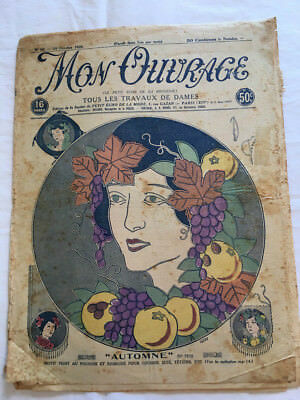 Original DAMAGED Mon Ouvrage October 1926 French Crochet Knitting & Embroidery