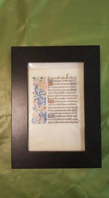 Medieval illuminated Manuscript Leaf - Book of the Hours- c.1400s