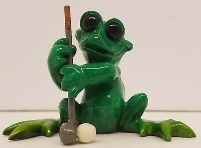 Kitty's Critteres~On The Green~Frog W/golf Club~2007 Collectible Figurine~Euc