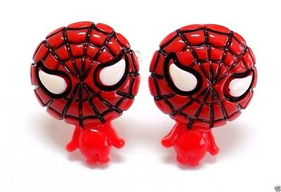 Handmade Spider-Man Resin Cufflinks, Silver Plated Toggles, Gift Boxed!