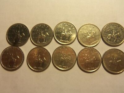 CANADIAN 1873-1973 Commemorative RCMP QUARTER - Twenty-Five Cents -LOT of 14