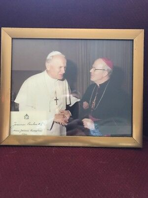 Vintage Signed Card Framed  Photo Pope John Paul II and Bishop Schulte