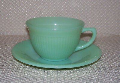 Set/Lot of 2 Vintage Fire King Jadeite Jadite JANE RAY Cup and Saucer Set