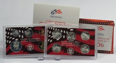 USA 2006 Mint Silver Proof Set + State Quarters Silver Proof Set