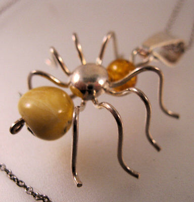 """Genuine Amber Spider Pendant Necklace Sterling Silver 19"""" Vintage Jewelry Gothic"""