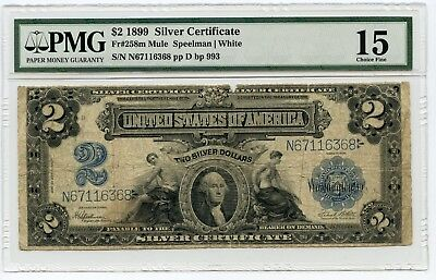 Large Size $2 1899 Silver Certificate Note Fr#258M Mule (Ch F 15)  PMG.