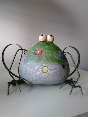 Ornamental Frog from metal and clay from estate
