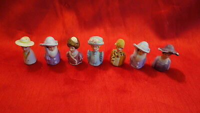 Vintage Lot Of 7 Avon Lady Head Thimbles American Lady Fashion Bisque Nice Shape