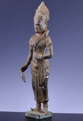 Very Finely Detailed Early Indian Thai Bronze Buddhist Deity Figure