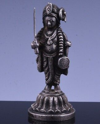 RARE EARLY INDIAN STERLING SILVER BUDDHIST DEITY FIGURE w SWORD MINIATURE SEAL