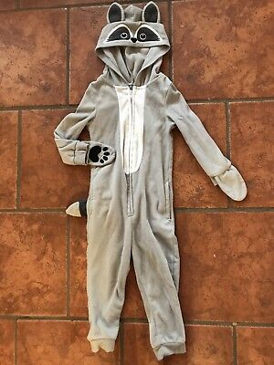 Famjammies Toddler Gray Racoon Hooded Pajamas With Tail Union Suit Size 3T
