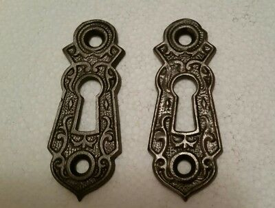 Pair Decorative Victorian Door Key Hole Covers  Cast Iron  Cleaned (155Hb)