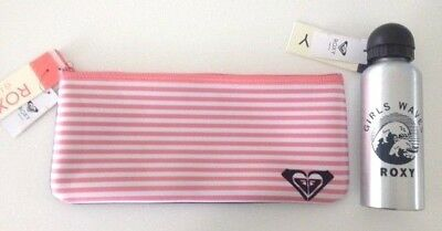Bnwt Roxy Kids Girls Neoprene Pencil Case And Stainless Drink Bottle Set
