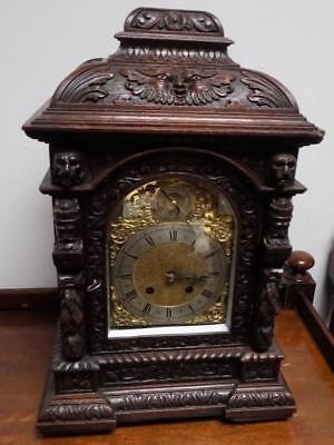 well carved 1/4 striking ting tang bracket clock c1900