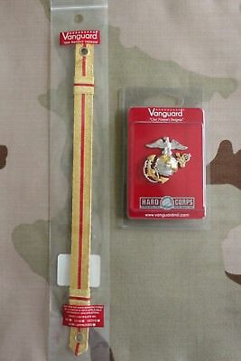 Usmc Us Marine Corps Gold Chin Strap And Badge Set For Officer Combination Cap