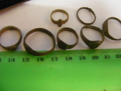 Lot of 7 Ancient Roman/Medieval bronze Rings,,various sizes. .