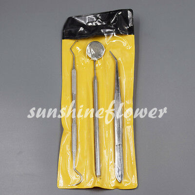 1 Set 3 Pc Basic Instruments Dental Tweezer Mirror Kit Examination Hygiene Tools