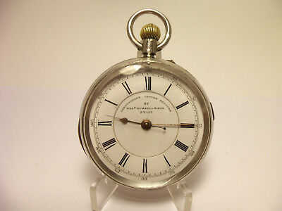Russel & Son Chronograph Centre Seconds pocket watch Silver case serviced ~ 1871