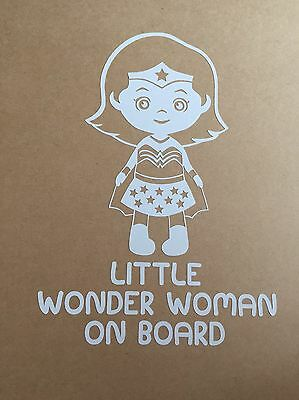 Child On Board Little Wonder Woman car Window Vinyl Sticker/Decal Baby Safety