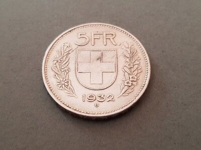 Switzerland silver coin 5 Francs 1932 B William Tell CONFOEDERATIO HELVETICA