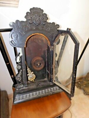 Ansonia Kitchen Parlor Clock Case w/Gong and Pendulum for Parts or Restoration