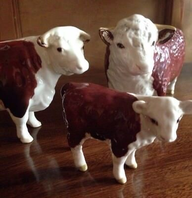 Set 3 Beswick England Herefordshire Cattle Bull Cow Calf Brown White