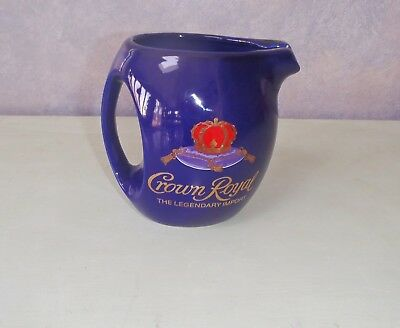 """Seagrams Crown Royal Whiskey Cobalt Blue Drink Pitcher 6"""" Tall"""