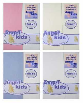 Baby 100% Cotton Moses Basket / Crib jersey Fitted Sheets by Angel Kids 2pp