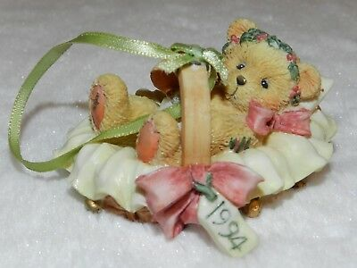 """Cherished Teddies """"Beary Christmas """" Baby In A Basket 1994 #617253"""