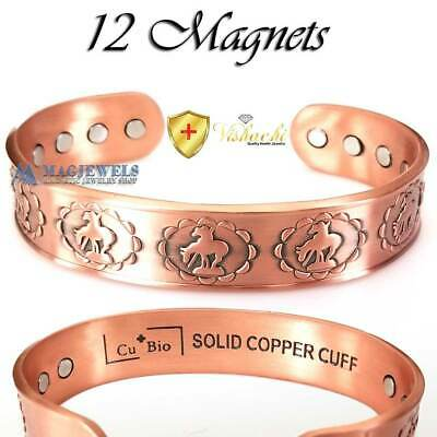 Cu+Bio 12 PURE SOLID COPPER MAGNETIC MAX THERAPY HORSE BANGLE/BRACELET CB29BV