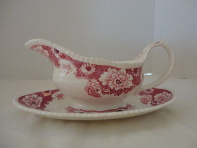 Vintage Wood & Sons England Cambridge RED Gravy Boat and Under Plate