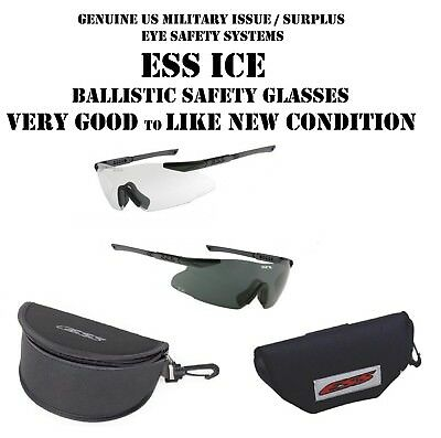 US MILITARY ESS ICE BALLISTIC SHOOTING SAFETY GLASSES SET of 2 CLEAR & SMOKE VGC