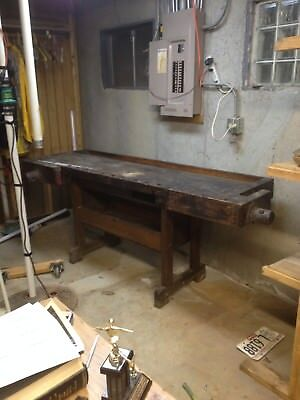 Vintage-Industrial-Woodworkers-Workbench-Table-Desk-w-Two-Vises  Vintage-