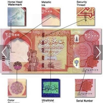 100,000 IRAQI DINAR (4) 25,000 NOTE CIRCULATED!AUTHENTIC!IQD!with bank invoice