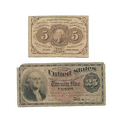 2  U.S. Fractional  5 & 25 CENTS notes   1860s/  VG/Fine+
